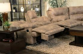 voyager power lay flat 3 piece sectional in brandy fabric by