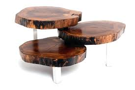 Tree Trunk Table Tree Trunk Coffee Table Side Table On Casters Solid Wood Tree