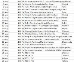 2016 ipl match list ipl 2013 complete schedule