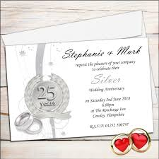 Wedding Invitation Card Free Download Free 25th Wedding Anniversary Invitations Free Silver Wedding