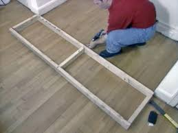 How To Build A Platform Bed Frame With Drawers by How To Build Window Seat From Wall Cabinets How Tos Diy