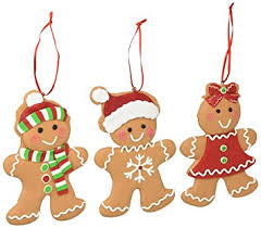 set of 3 gingerbread cookie tree ornaments