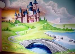 fresque chambre fille fresque murale decoration chambre fille chateau princesse