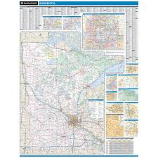 Map Of Minnesota With Cities Rand Mcnally Minnesota State Wall Map