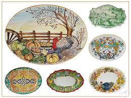thanksgiving oval platters serveware painted in italy
