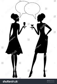 cocktail silhouette png illustration two young women having conversation stock vector