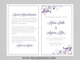 wedding program designs wedding program template swirl and flourish purple silver purple