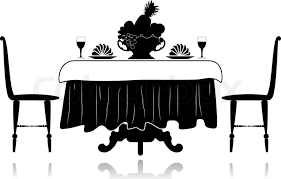 Dining Room Table Clipart Black And White Restaurant Little Table Stock Vector Colourbox