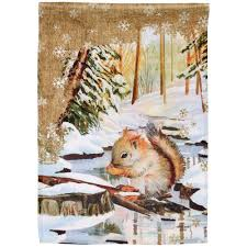 snowy squirrel garden flag the literacy site