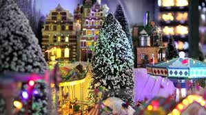 Christmas Town Decorations Christmas Decorations On The Street Market Stock Footage Video