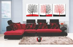 red and black home decor 3 pcs sets canvas painting red white black red trees art cheap