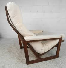 unique mid century modern teak frame lounge chair with ottoman for