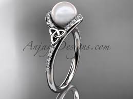 wedding rings white gold celtic engagement rings white gold pearl ring ctp7317