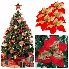 christmas xmas tree hanging decoration red flower christmas tree