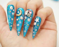 stiletto nails super long nails purple green 3d nails