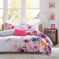 Orange And White Comforter Chic Modern 5pc Pink White Purple Orange Grey Soft Girls Comforter