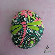 rock rock art painted stone dragonfly art mandala design