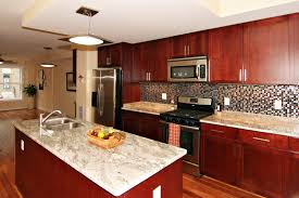 Laminate Flooring Black And White Brown Polished Cherry Wooden Kitchen Cabinet And Kitchen Island On