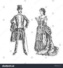 victorian lady gentleman vintage victorian era stock vector