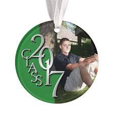graduation class of 2017 green and silver photo ornament zazzle