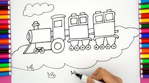draw cartoon train color train children