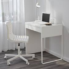 White Wood Computer Desk Narrow Computer Desk Ikea Micke White For Small Space Minimalist