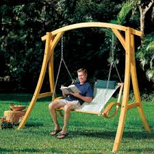the arched cypress swing stand hammacher schlemmer