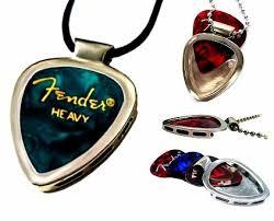 stainless steel guitar necklace images Buy pickbay stainless steel guitar pick holder w black leather adj jpg