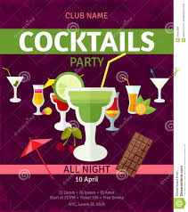 tropical cocktails night party invitation poster stock vector
