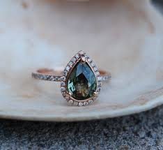 jewelry rings sapphire images Rose gold engagement ring green tea sapphire pear cut halo jpg