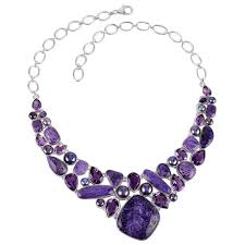 amethyst necklace silver images Chroite amethyst and colored pearl silver necklace purple jewelry jpg