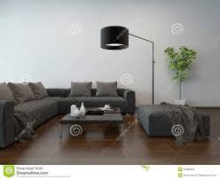 Wohnzimmerm El Grau Wohnzimmer Innenw Graue Couch Und Stehlampe Stock Abbildung Bild