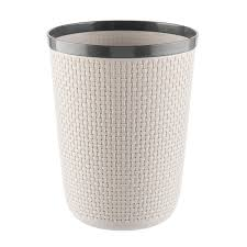 grey round cottage woven wastebasket the container store