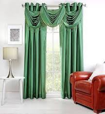 green silk grommet curtains with valance decorating your windows