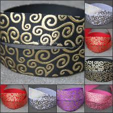 ribbon grosgrain gold swirls grosgrain ribbon 22mm med