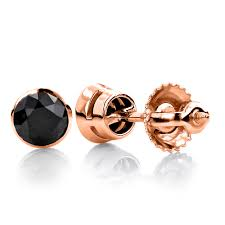 mens earring studs 14k gold black diamond stud earrings bezel set 2 00ct