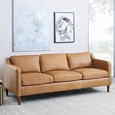 Leather Sofa In Living Room Hamilton Leather Sofa 81 West Elm