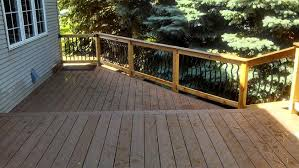cedar railing was topped with an azek deck board dupont