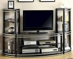 big screen tv cabinets furniture black and grey curved iron media cabinet with shelf and