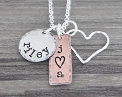 Mothers Necklace With Initials Mixed Metal Charms Etsy
