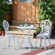 Balcony Bistro Set Patio Furniture White Ikayaa 3pcs Modern Outdoor Patio Bistro Set Aluminum Porch