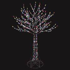 santa s best 6 ft pre lit led deciduous tree sculpture with color