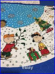 peanuts tree skirt quilted fabric brown panel
