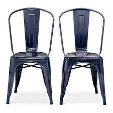 Simple Dining Room With Polished Black Carliste Patio Dinette by Carlisle High Back Metal Dining Chair Navy Blue Set Of 2