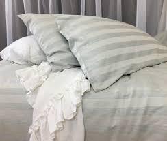 chambray moss stripe linen duvet cover