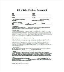 Exles Of Bill Of Sale For Cars by Receipt Template For Car Sale By Purchase And Sale Agreement Free