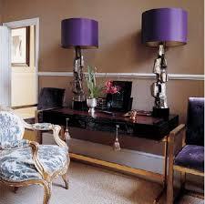 purple lamp shades eclectic den library office elle decor