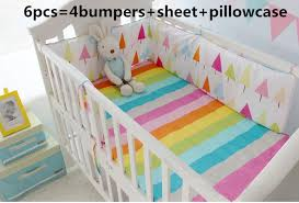 promotion 6pcs rainbow baby bedding baby cots boy baby set baby