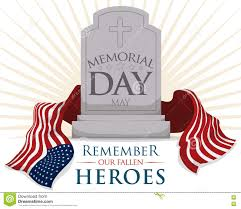 Memorial Day American Flag Gravestone With Usa Flag For Memorial Day Vector Illustration