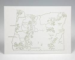 Hood River Oregon Map by Oregon State Map Letterpress Postcard U2013 Green Bird Press